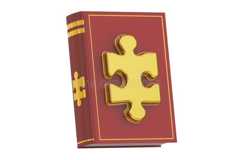 Vetenskaps- och utbildningsbegrepp, bok med pusslet framförande 3d vektor illustrationer