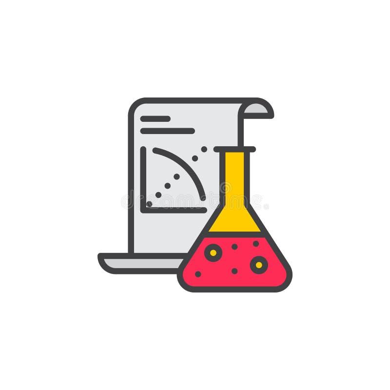 Vetenskapsapplikationlinje symbol, fyllt översiktsvektortecken, linjär färgrik pictogram som isoleras på vit stock illustrationer