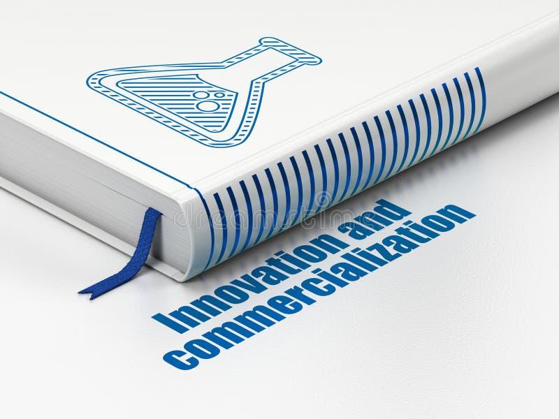 Vetenskapsbegrepp: boka flaskan, innovation och kommersialiseringen på vit bakgrund stock illustrationer