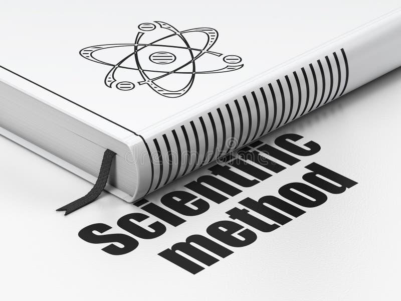 Vetenskapsbegrepp: boka molekylen, vetenskaplig metod på vit bakgrund vektor illustrationer