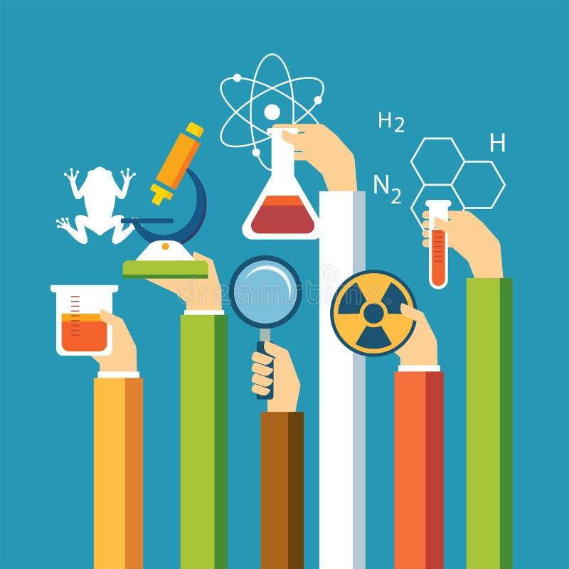 Vetenskapsbegrepp, fysik, kemi, biologilägenhetdesign royaltyfri illustrationer