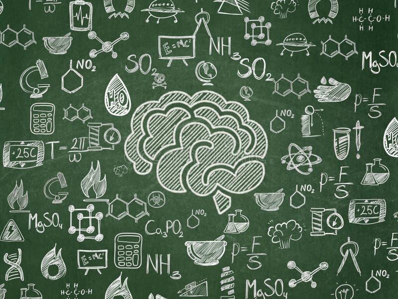 Vetenskapsbegrepp: Hjärna på skolförvaltningbakgrund royaltyfri illustrationer