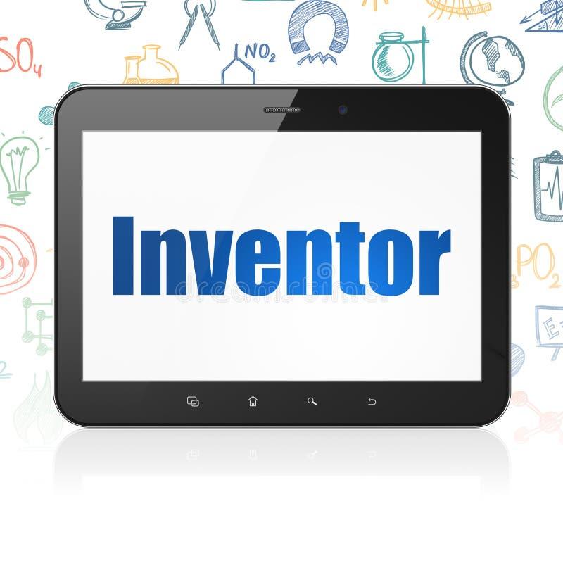 Vetenskapsbegrepp: Minnestavladator med uppfinnaren på skärm stock illustrationer
