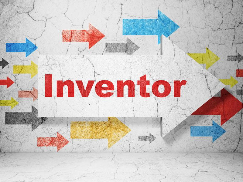 Vetenskapsbegrepp: pil med uppfinnaren på grungeväggbakgrund stock illustrationer