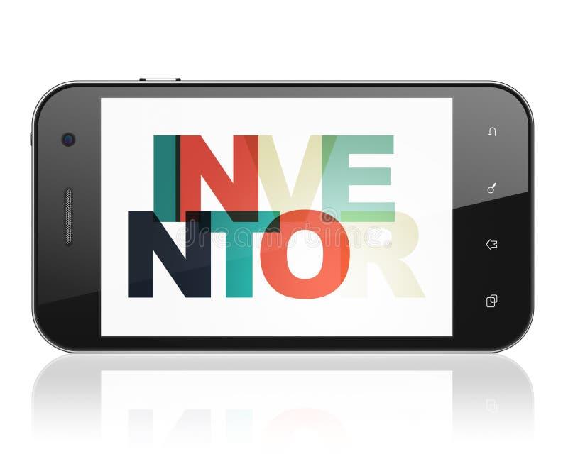 Vetenskapsbegrepp: Smartphone med uppfinnaren på skärm vektor illustrationer