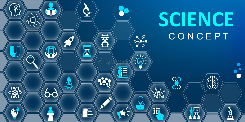 Vetenskapsbegreppsbakgrund Ställ in av utbildning, skola och plana symboler för kunskap Vektor för †för symboler för samlingsve vektor illustrationer