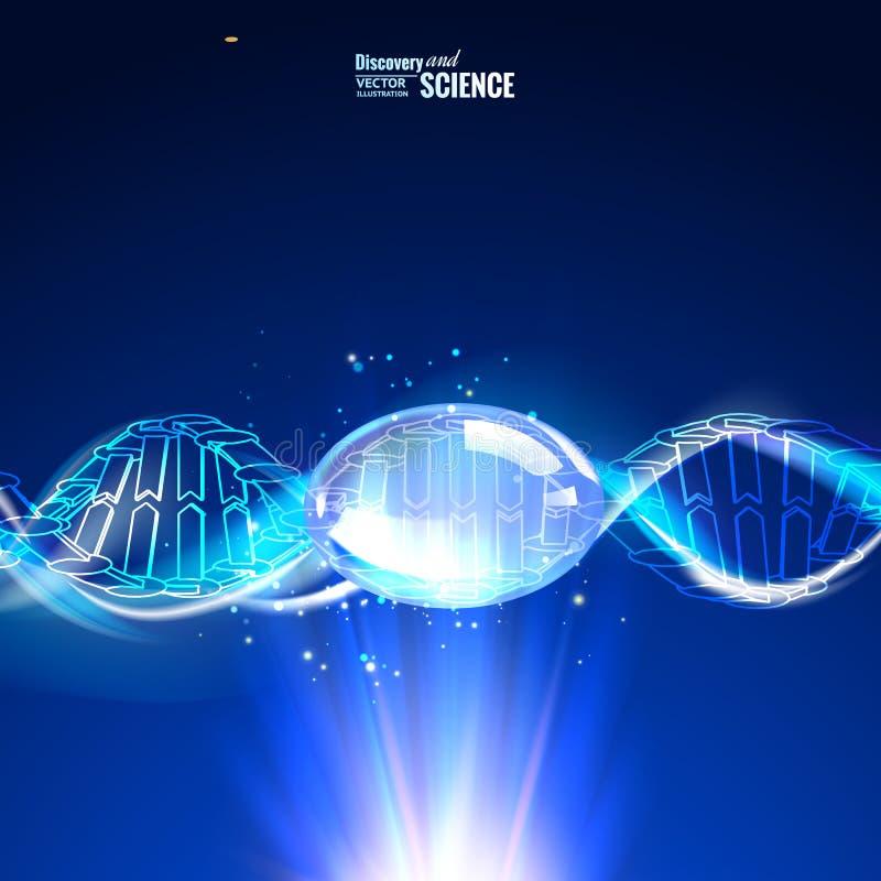 Vetenskapsbegreppsbild av det mänskliga DNA:t Blå ljus abstraktion av digital konst vektor illustrationer