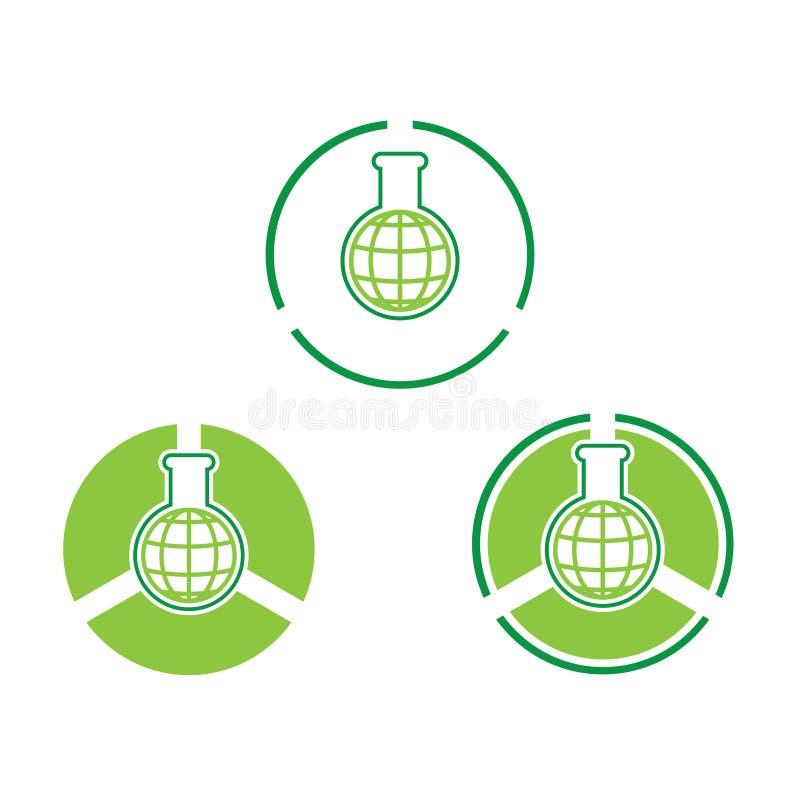 Vetenskapsflaskillustrationer och uppsättning för grön färg för jordklot royaltyfri illustrationer