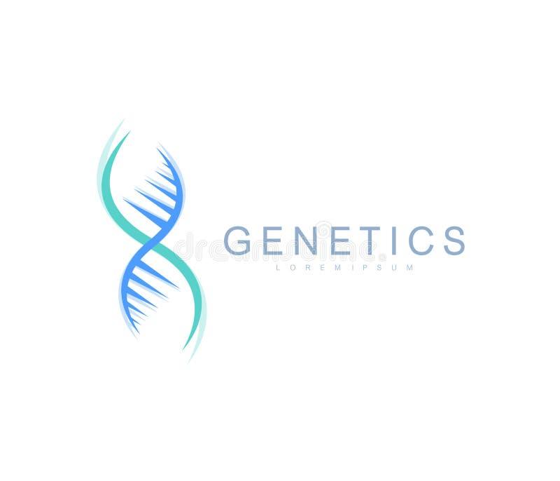 Vetenskapsgenetiklogo, DNAspiral Genetisk analys, DNA för forskningbiotech kod Bioteknikgenomkromosom vektor stock illustrationer