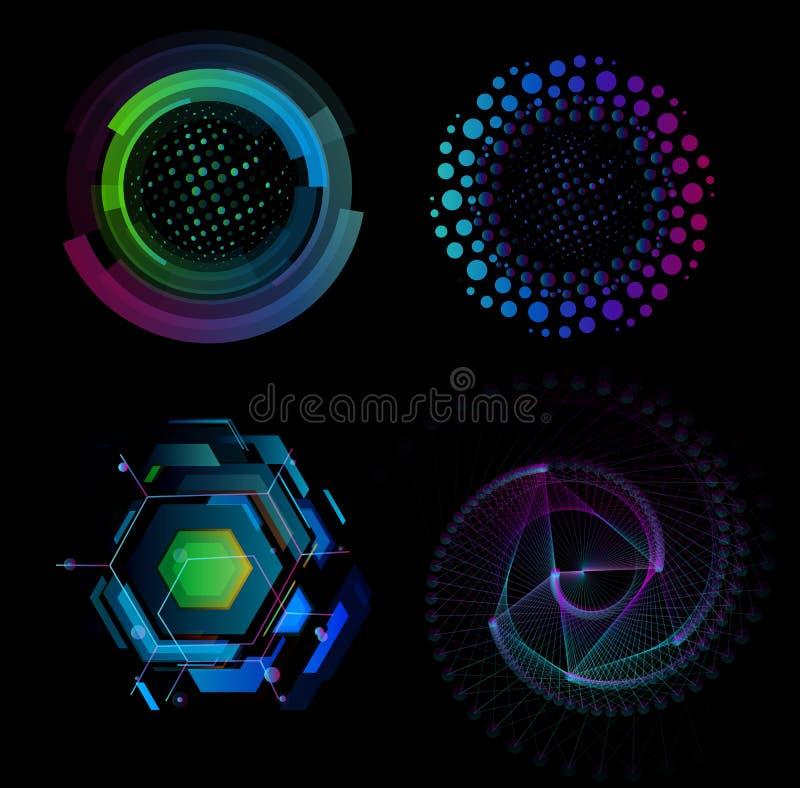 Vetenskapsinnovationsymboler, ny teknik, digital framtid, smart fabrikssymbol, automatiserad robotic fabrik, digitalt nano vektor illustrationer