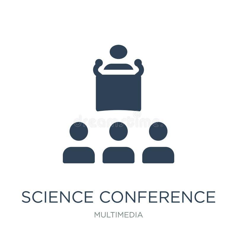 vetenskapskonferenssymbol i moderiktig designstil vetenskapskonferenssymbol som isoleras på vit bakgrund vetenskapskonferensvekto stock illustrationer