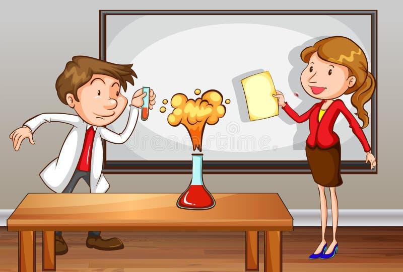 Vetenskapslärare som framme undervisar av gruppen stock illustrationer