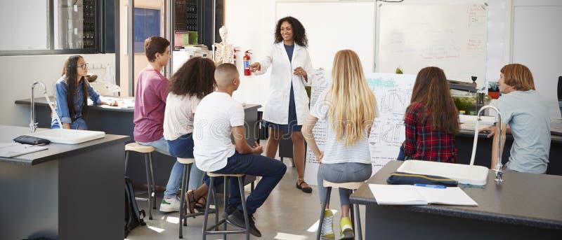 Vetenskapslärare som ger presentation i skolavetenskapsgrupp arkivfoto