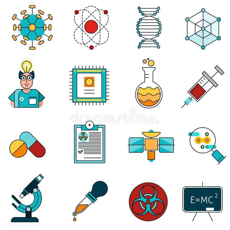 Vetenskapslinje symbolsuppsättning royaltyfri illustrationer