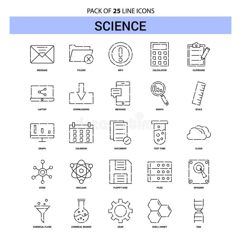 Vetenskapslinje symbolsuppsättning - streckad stil för översikt 25 vektor illustrationer