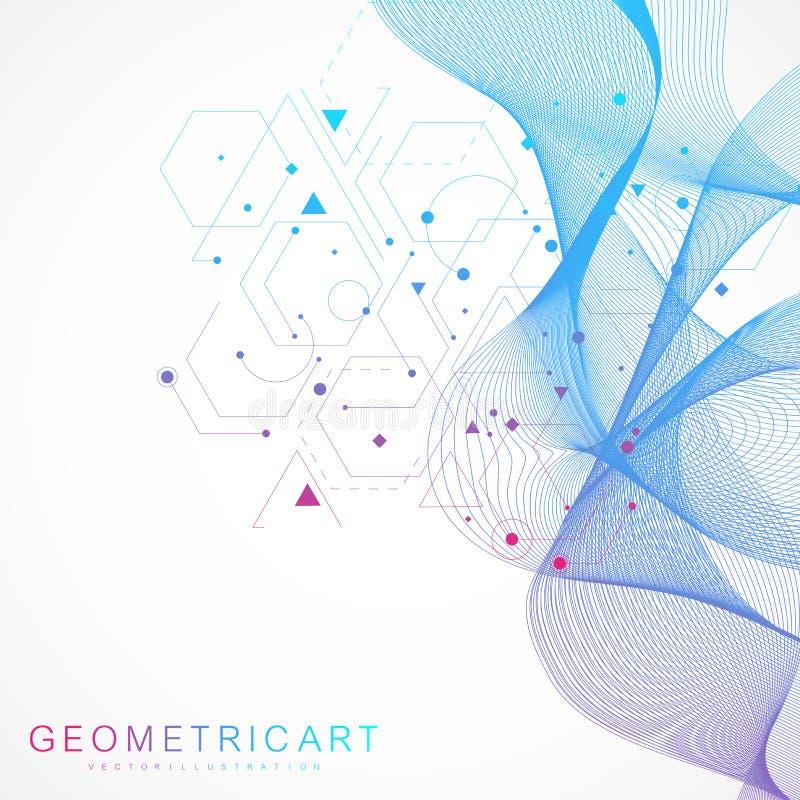 Vetenskapsnätverksmodell, förbindande linjer och prickar Modern futuristisk faktisk abstrakt bakgrundsmolekylstruktur för royaltyfri illustrationer