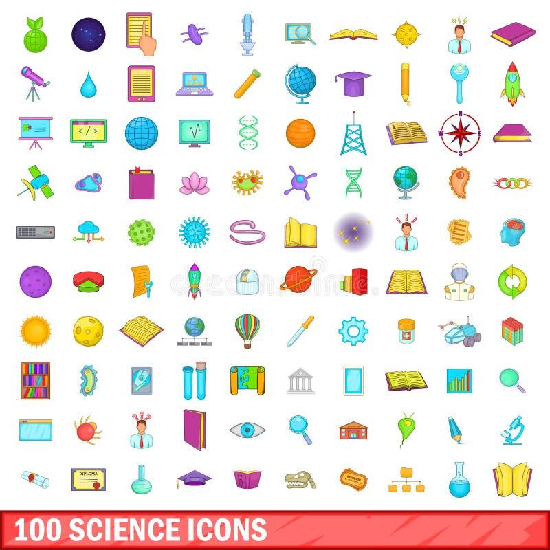 100 vetenskapssymboler uppsättning, tecknad filmstil stock illustrationer