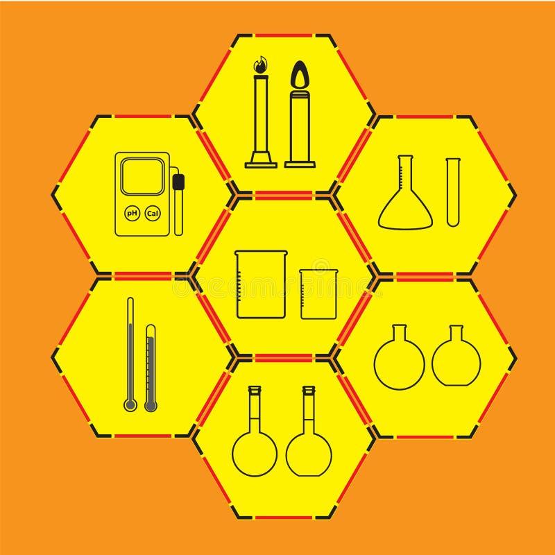 Vetenskapssymbolsuppsättning på bakgrund royaltyfri bild
