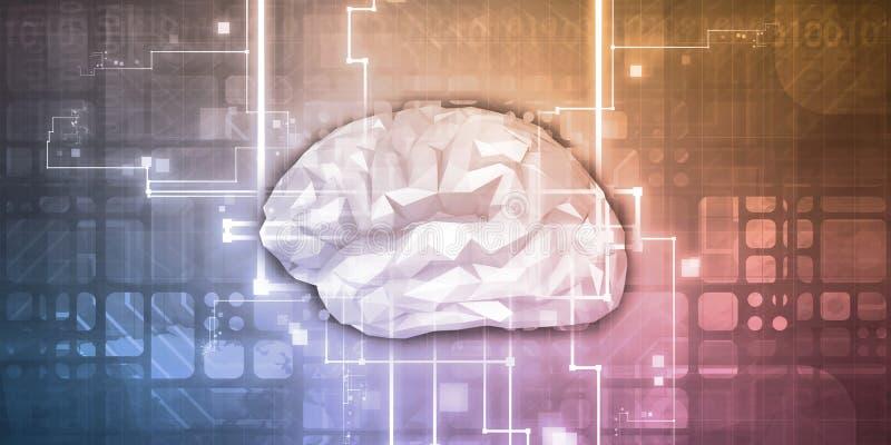 Vetenskapsteknologi med hjärnan stock illustrationer