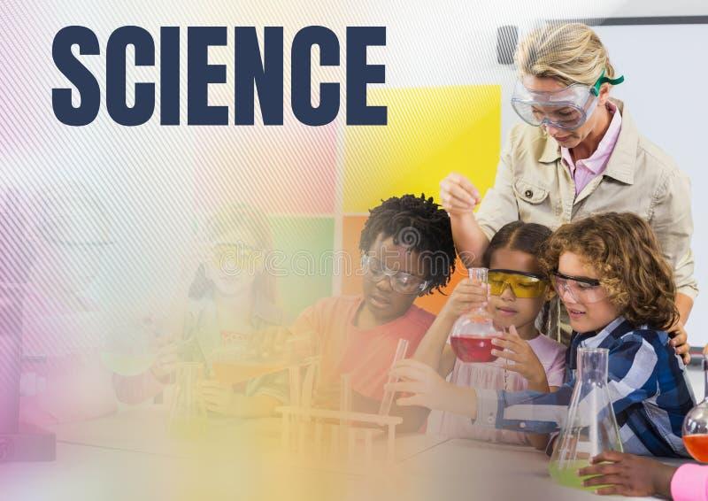Vetenskapstext och vetenskapsskolalärare med grupp arkivbilder