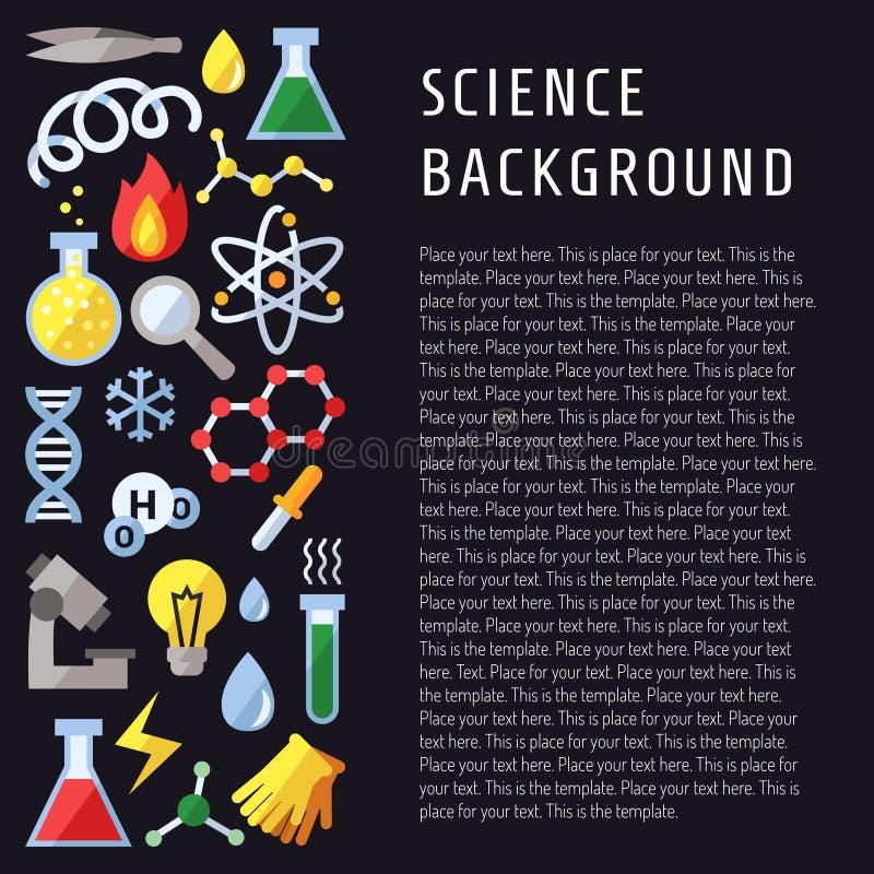 Vetenskapsvektorbakgrund Kemi, fysik och biologi Modern plan design royaltyfri illustrationer