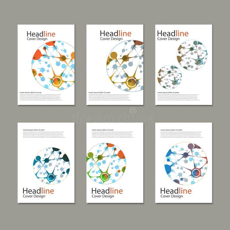 Vetenskapsvektorbakgrund Moderna vektormallar för broschyr, reklamblad, räkningstidskrift eller rapport i formatet A4 vektor illustrationer
