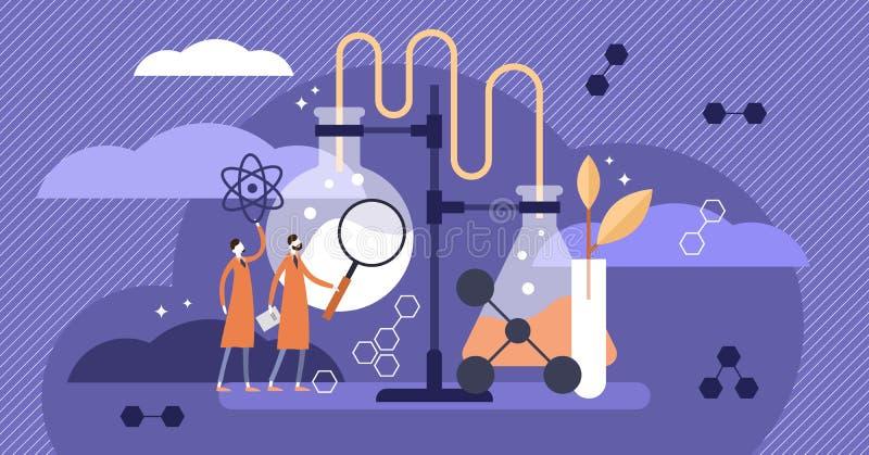 Vetenskapsvektorillustration Plant medicinskt apotekexempel med forskare royaltyfri illustrationer