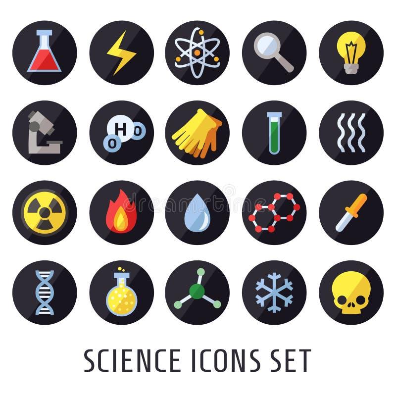Vetenskapsvektorsymboler Kemi, fysik och biologi Modern plan design vektor illustrationer