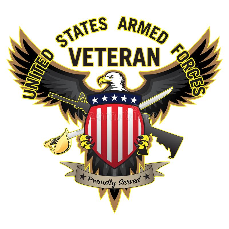 Veteran bewaffneter Kräfte Vereinigter Staaten diente stolz kahlen Eagle Vector Illustration stock abbildung