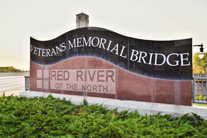 Veteran Memorial Bridge sign in Fargo, ND stock images