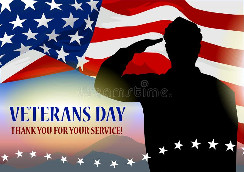 Veteran`s day holiday banner. Solder silhouette, American flag fragment and text block royalty free illustration
