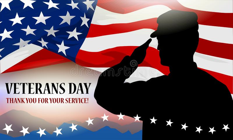 Veteran`s day holiday banner. Solder silhouette, American flag fragment and text block. Template for printing cards stock illustration