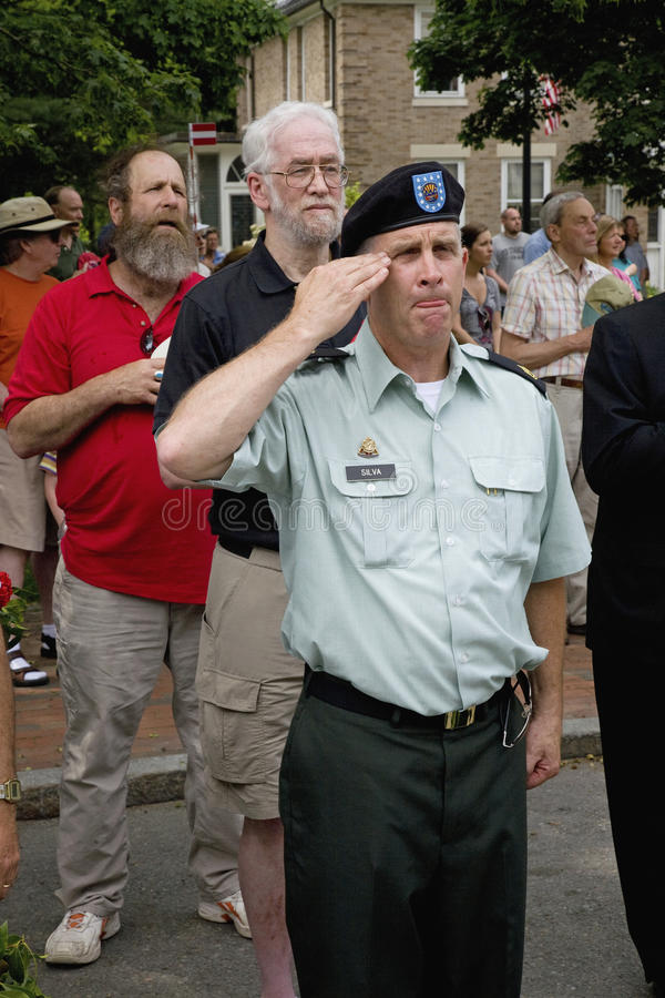 Veteran salute on Memorial Day. Veterans salute on Memorial Day, 2011 in Concord, MA royalty free stock photo