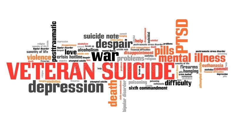 Veteran suicide. Soldier psychology concept. Word cloud sign stock illustration