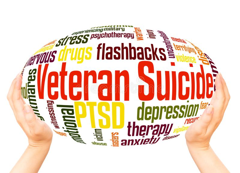 Veteran Suicide word cloud hand sphere concept. On white background stock illustration