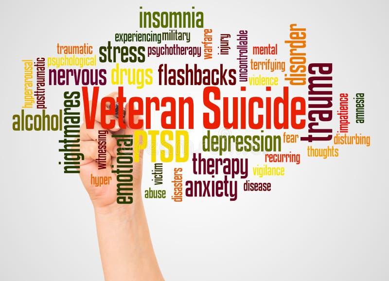 Veteranen-Selbstmordwortwolke und -hand mit Markierungskonzept stockbilder