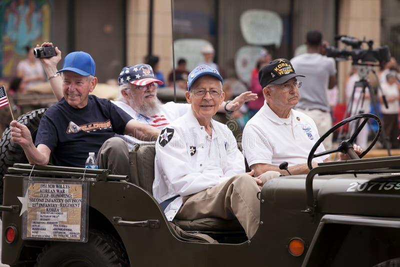 Veteranen van de Koreaanse Oorlog op Four Juli-Parade royalty-vrije stock afbeeldingen