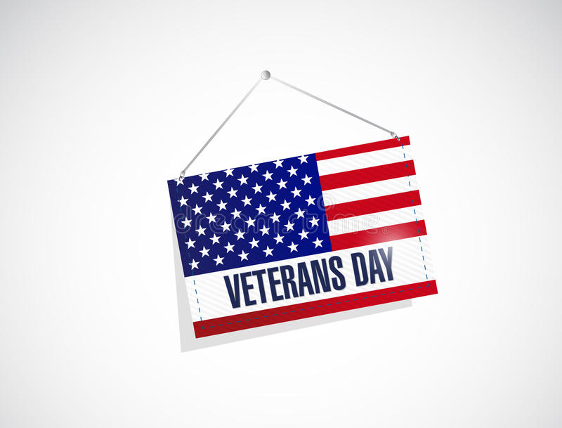 veteranendag ons hangende vlagillustratie vector illustratie