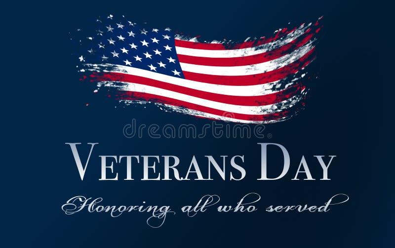 Veteranentagesabdeckung, mit Flagge lizenzfreie stockfotografie