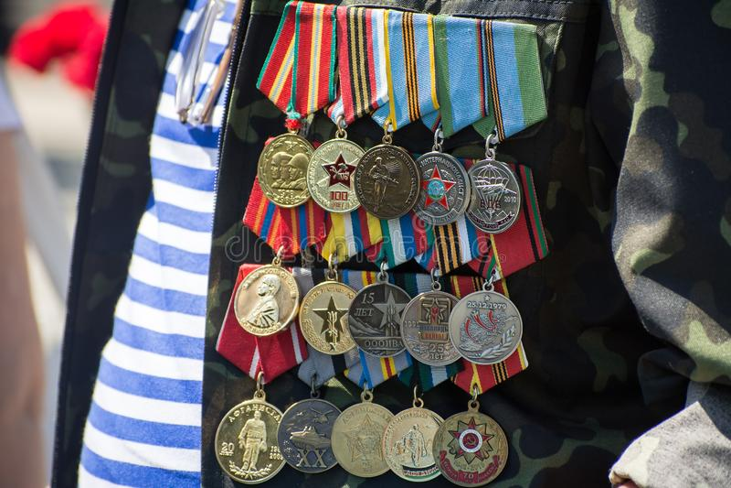 Veterano de las medallas del soldado de la guerra de la URSS fotos de archivo