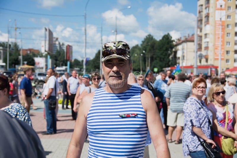 Veterano de tropas transportadas por via aérea de Rússia fotografia de stock