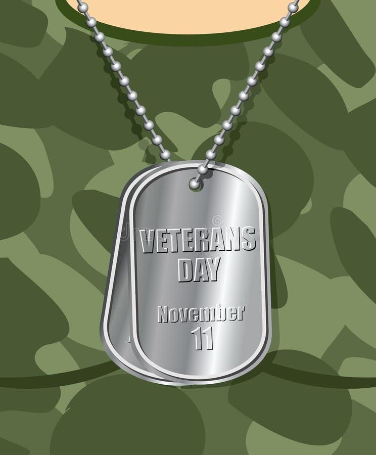 Veterano del día Insignia del ejército en su pecho del soldado T-sh militar libre illustration