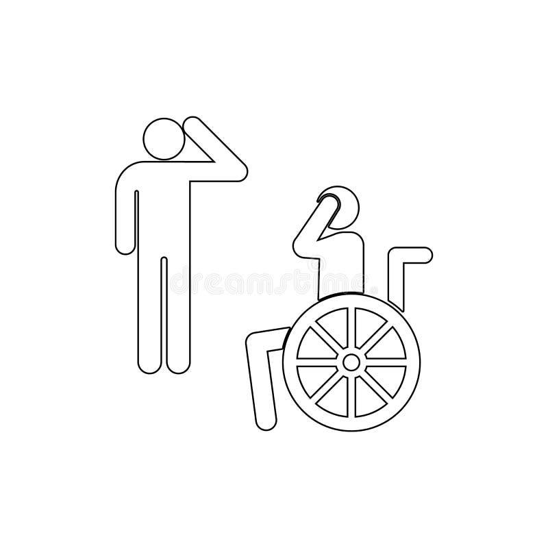 Veterano, desvantagem, ?cone do esbo?o da cadeira de rodas Pode ser usado para a Web, logotipo, app m?vel, UI, UX ilustração stock