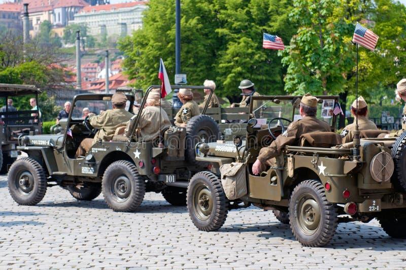 Veteranos e jipes americanos fotografia de stock