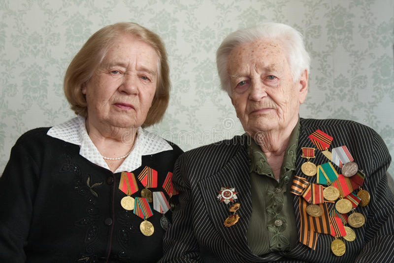 Veterans. Two sisters veterans of war 1941-1945 with Germany royalty free stock images