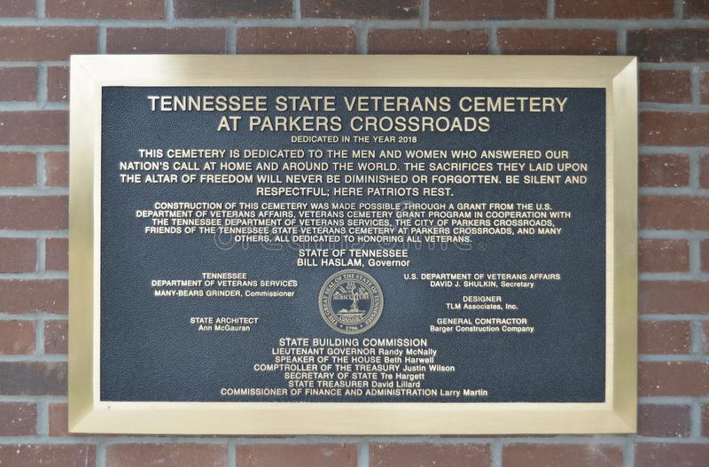 Veterans Cemetery Plaque at Parker Crossroads. Veterans Cemetery Plaque at Parkers Crossroads, Parkers Crossroads is a city in Henderson County, Tennessee royalty free stock photos