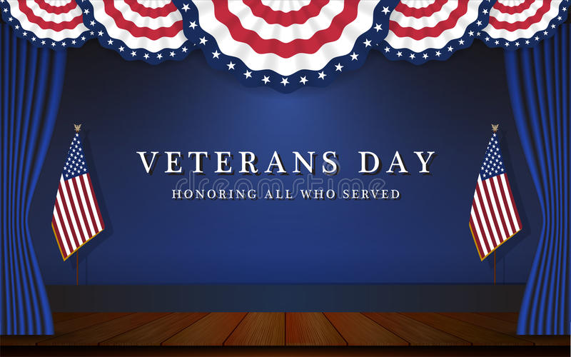 Veterans Day Background With Circle Wavy USA Flag. And Stage Scene Design. Vector illustration vector illustration