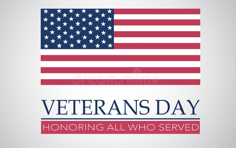 Veterans day background with flag stock image