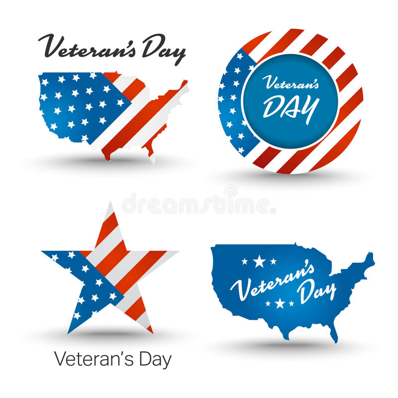 Veterans day badges. With usa map and flag background stock illustration