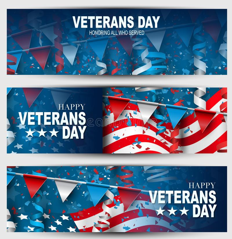 Veterans Day banner or website header set. Honoring all who served. USA National holiday design concept. American flag, bunting, f royalty free illustration
